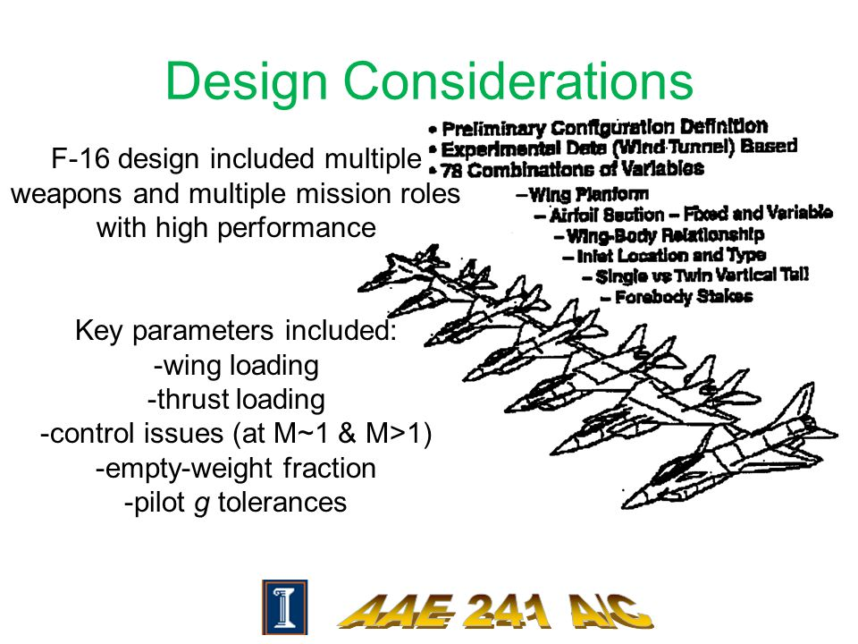 Design Considerations F-16 design included multiple weapons and multiple mission roles with high performance Key parameters included: -wing loading -thrust loading -control issues (at M~1 & M>1) -empty-weight fraction -pilot g tolerances