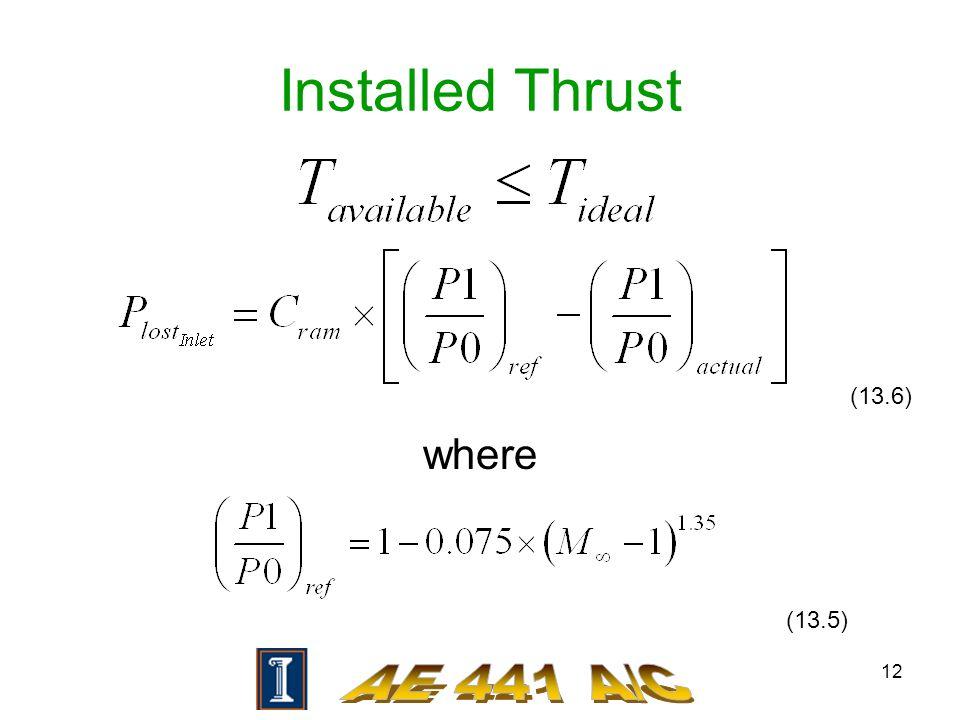 12 Installed Thrust where (13.5) (13.6)