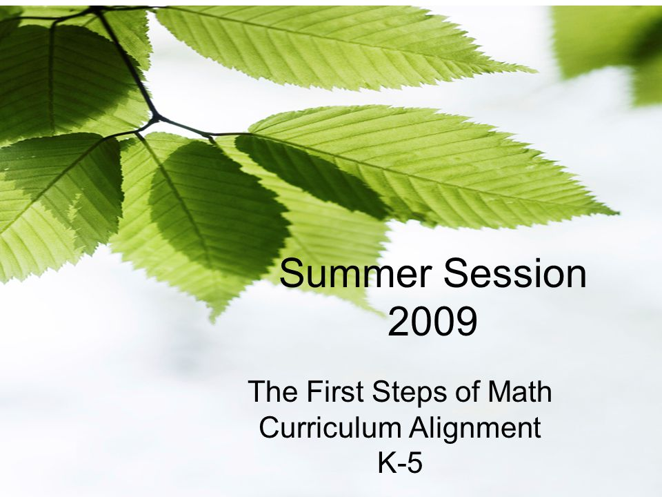 Summer Session 2009 The First Steps of Math Curriculum Alignment K-5