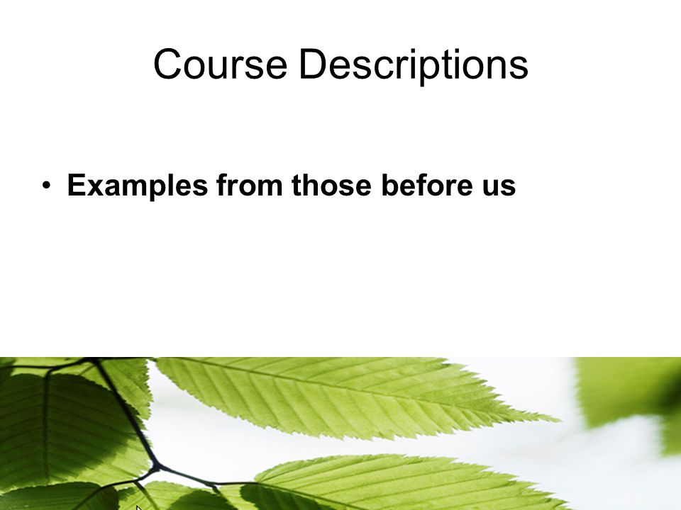 Course Descriptions Examples from those before us