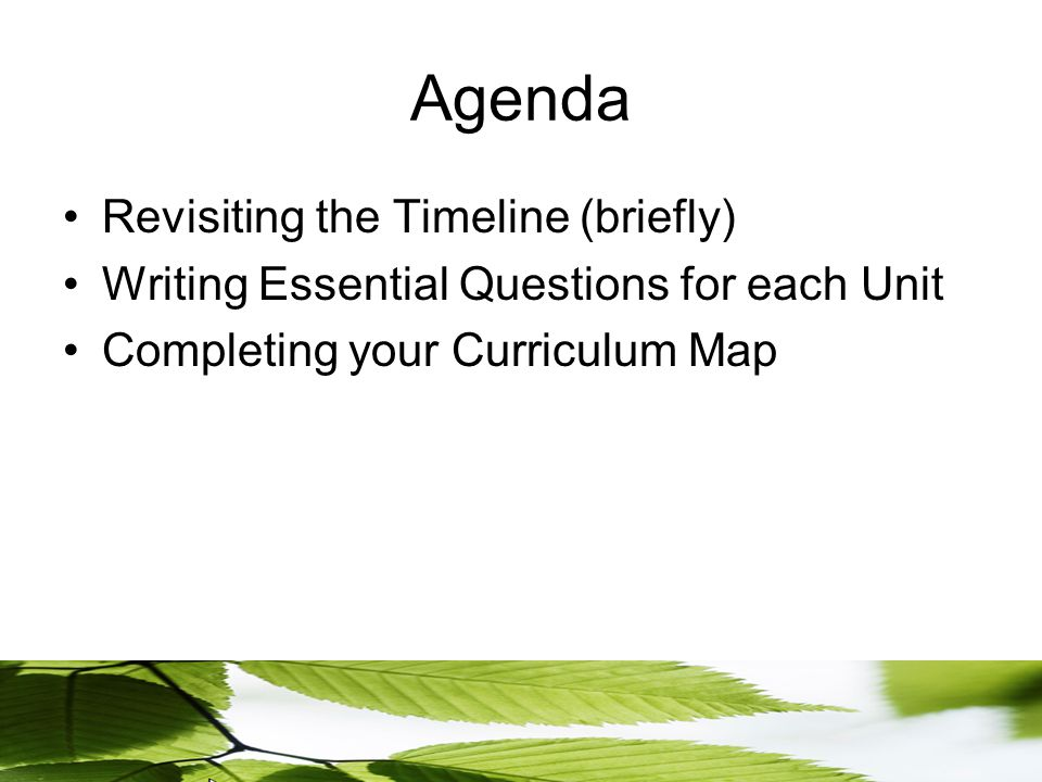 Agenda Revisiting the Timeline (briefly) Writing Essential Questions for each Unit Completing your Curriculum Map