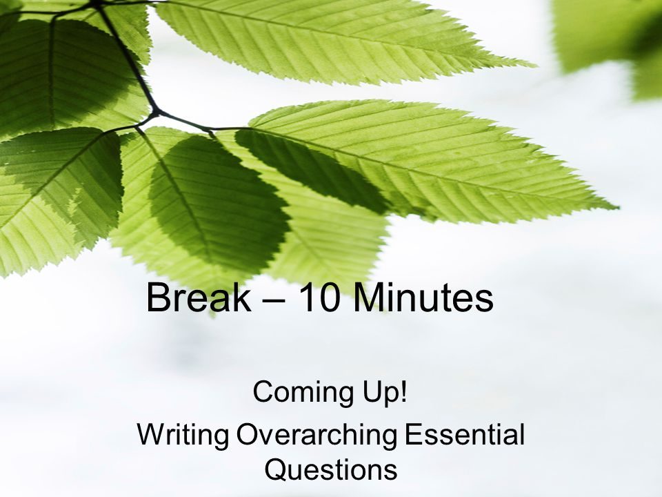 Break – 10 Minutes Coming Up! Writing Overarching Essential Questions