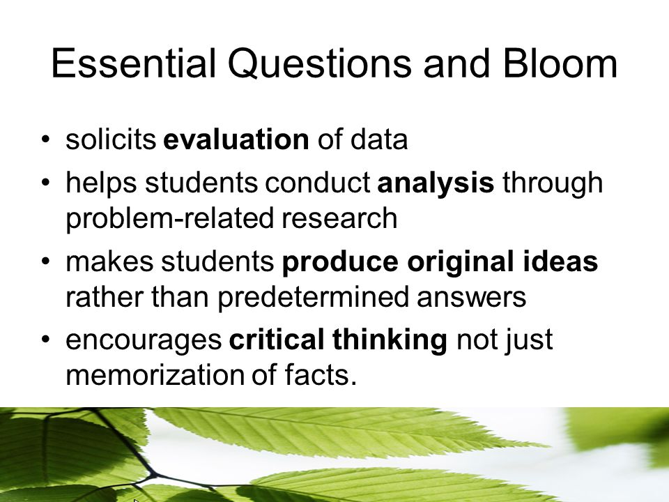 Essential Questions and Bloom solicits evaluation of data helps students conduct analysis through problem-related research makes students produce original ideas rather than predetermined answers encourages critical thinking not just memorization of facts.