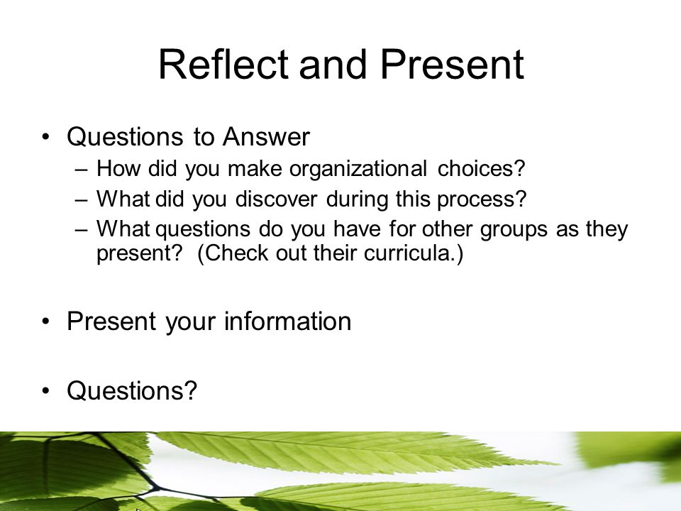Reflect and Present Questions to Answer –How did you make organizational choices.
