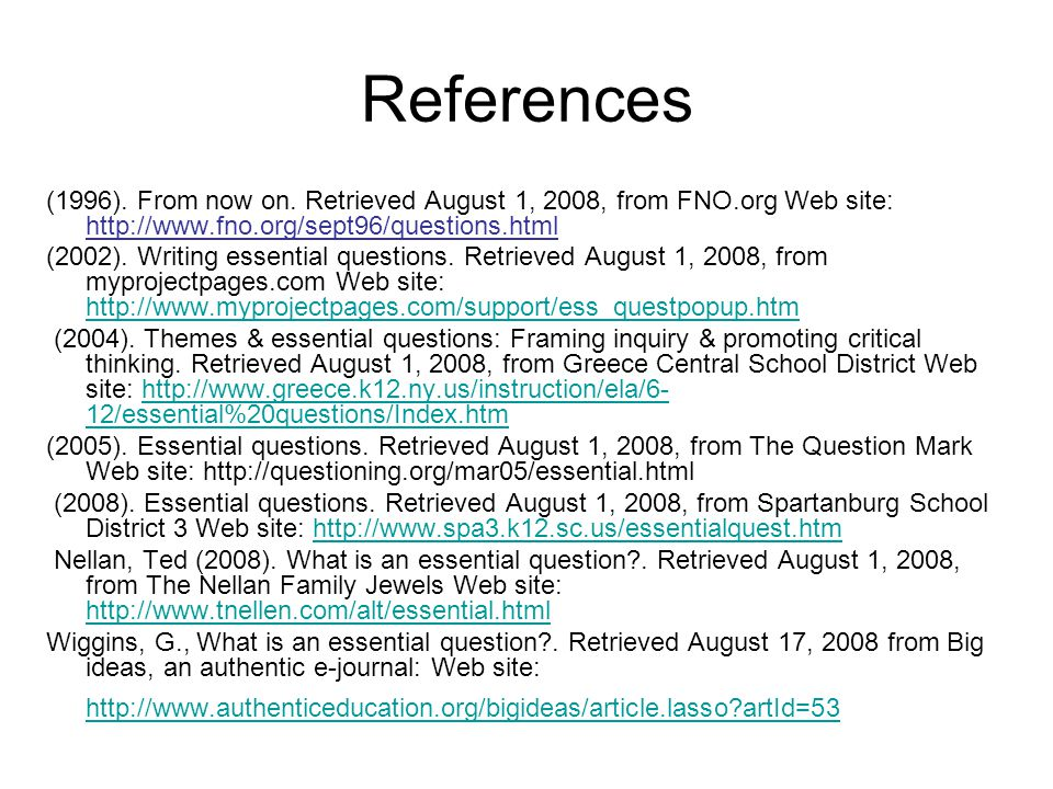 References (1996). From now on.