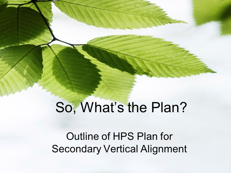 So, What's the Plan Outline of HPS Plan for Secondary Vertical Alignment