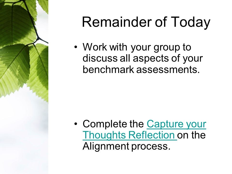 Remainder of Today Work with your group to discuss all aspects of your benchmark assessments.