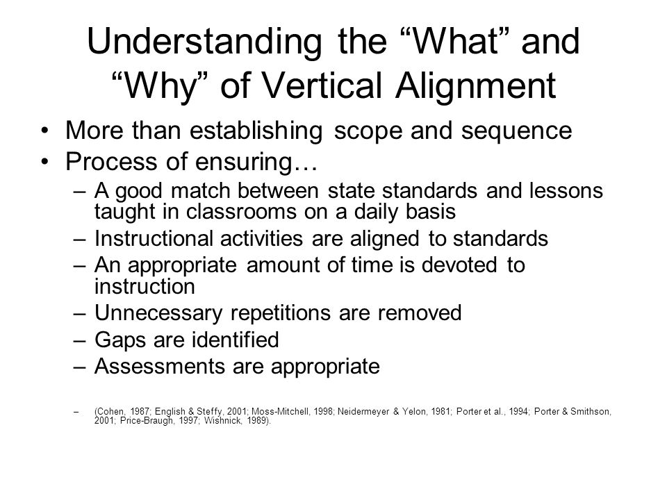 Understanding the What and Why of Vertical Alignment More than establishing scope and sequence Process of ensuring… –A good match between state standards and lessons taught in classrooms on a daily basis –Instructional activities are aligned to standards –An appropriate amount of time is devoted to instruction –Unnecessary repetitions are removed –Gaps are identified –Assessments are appropriate –(Cohen, 1987; English & Steffy, 2001; Moss-Mitchell, 1998; Neidermeyer & Yelon, 1981; Porter et al., 1994; Porter & Smithson, 2001; Price-Braugh, 1997; Wishnick, 1989).