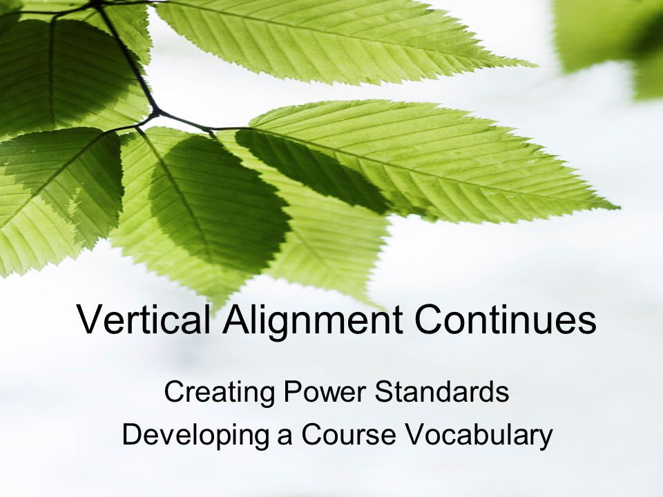 Vertical Alignment Continues Creating Power Standards Developing a Course Vocabulary