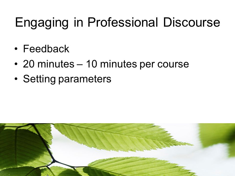 Engaging in Professional Discourse Feedback 20 minutes – 10 minutes per course Setting parameters