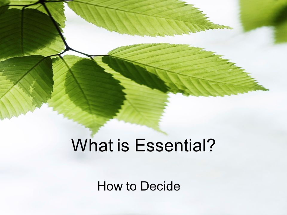 What is Essential How to Decide