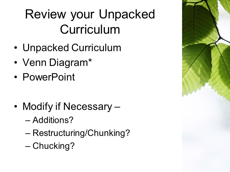 Review your Unpacked Curriculum Unpacked Curriculum Venn Diagram* PowerPoint Modify if Necessary – –Additions.