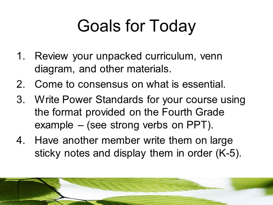 Goals for Today 1.Review your unpacked curriculum, venn diagram, and other materials.