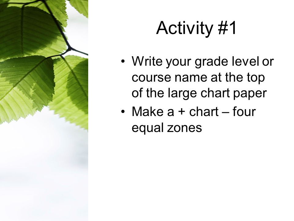 Activity #1 Write your grade level or course name at the top of the large chart paper Make a + chart – four equal zones