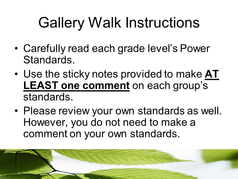 Gallery Walk Instructions Carefully read each grade level's Power Standards.