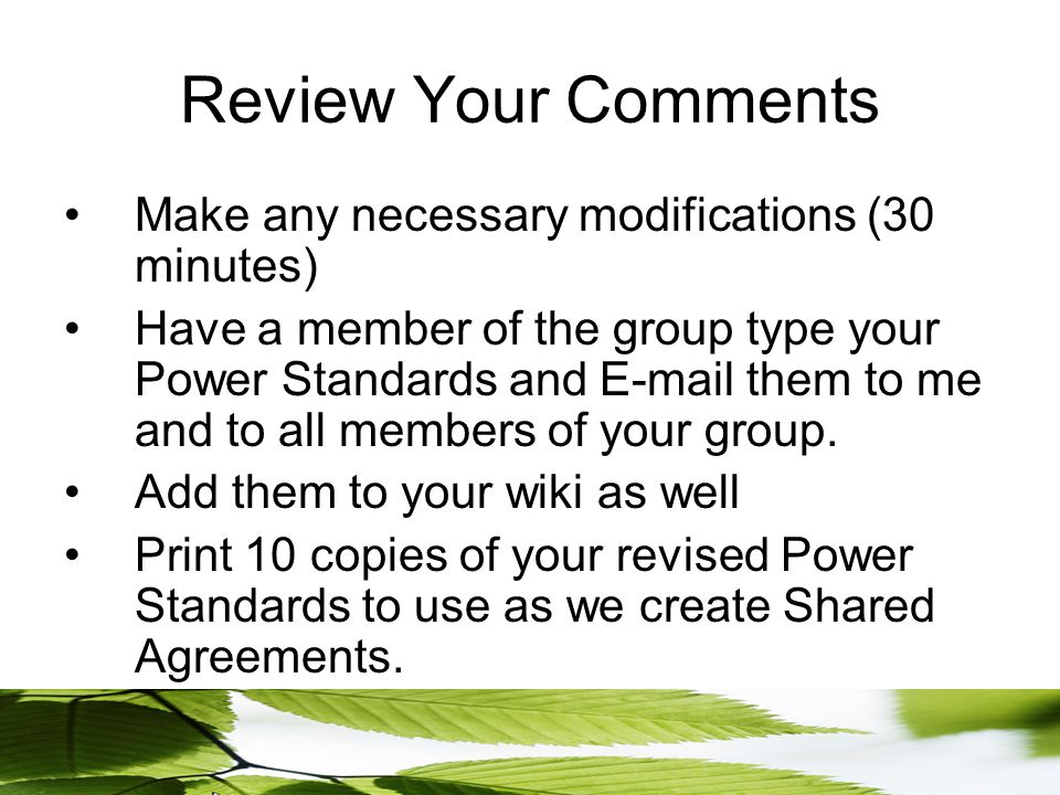 Review Your Comments Make any necessary modifications (30 minutes) Have a member of the group type your Power Standards and E-mail them to me and to all members of your group.