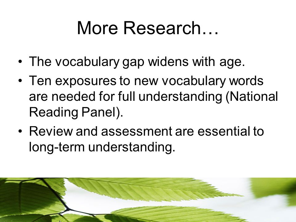 More Research… The vocabulary gap widens with age.