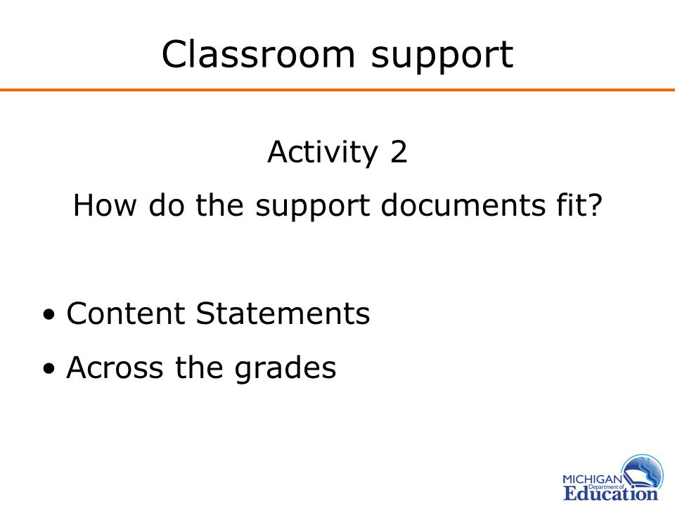 Classroom support Activity 2 How do the support documents fit? Content Statements Across the grades