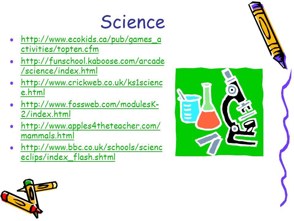 Science  http://www.ecokids.ca/pub/games_a ctivities/topten.cfm http://www.ecokids.ca/pub/games_a ctivities/topten.cfm  http://funschool.kaboose.com/arcade /science/index.html http://funschool.kaboose.com/arcade /science/index.html  http://www.crickweb.co.uk/ks1scienc e.html http://www.crickweb.co.uk/ks1scienc e.html  http://www.fossweb.com/modulesK- 2/index.html http://www.fossweb.com/modulesK- 2/index.html  http://www.apples4theteacher.com/ mammals.html http://www.apples4theteacher.com/ mammals.html  http://www.bbc.co.uk/schools/scienc eclips/index_flash.shtml http://www.bbc.co.uk/schools/scienc eclips/index_flash.shtml