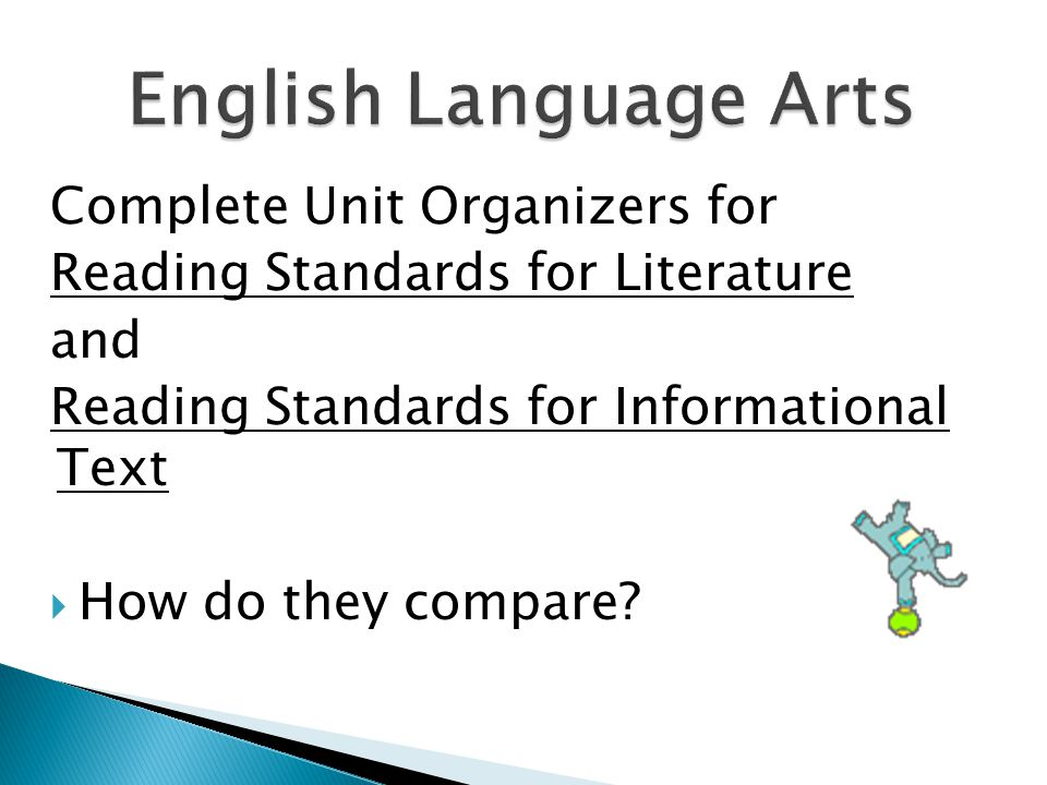 Complete Unit Organizers for Reading Standards for Literature and Reading Standards for Informational Text  How do they compare