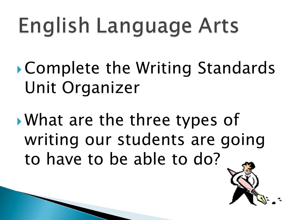  Complete the Writing Standards Unit Organizer  What are the three types of writing our students are going to have to be able to do