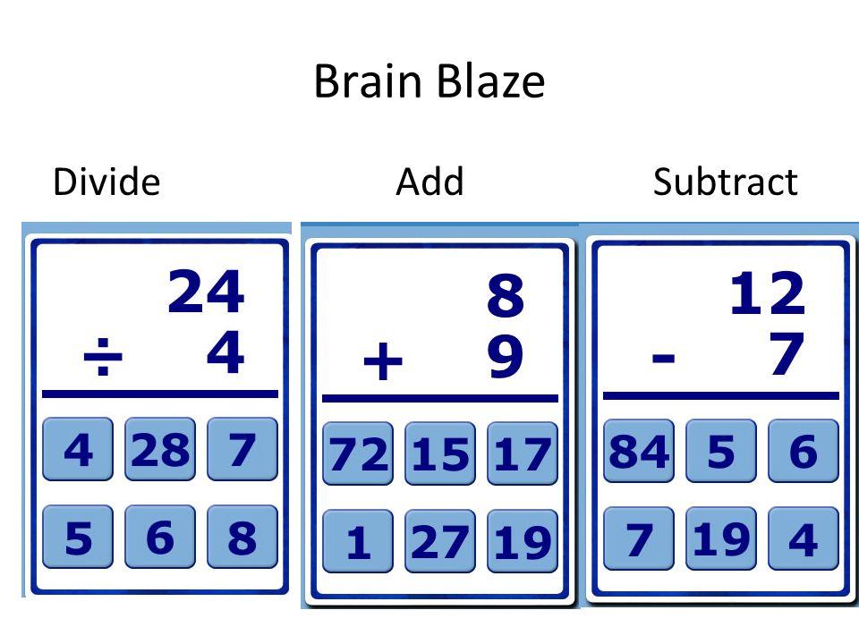 Brain Blaze DivideAddSubtract