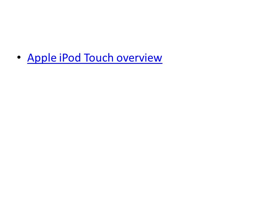 Apple iPod Touch overview