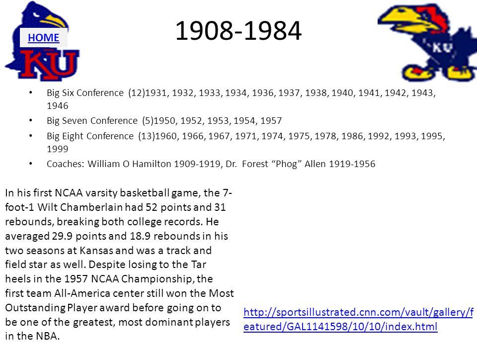 1908-1984 Big Six Conference (12)1931, 1932, 1933, 1934, 1936, 1937, 1938, 1940, 1941, 1942, 1943, 1946 Big Seven Conference (5)1950, 1952, 1953, 1954, 1957 Big Eight Conference (13)1960, 1966, 1967, 1971, 1974, 1975, 1978, 1986, 1992, 1993, 1995, 1999 Coaches: William O Hamilton 1909-1919, Dr.