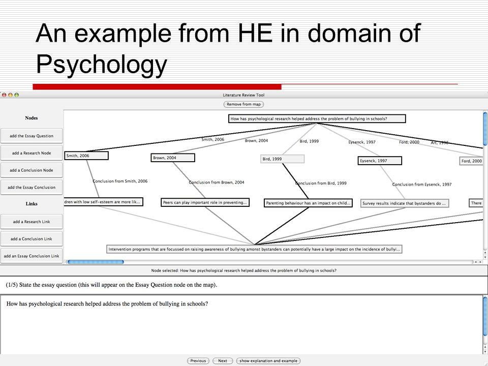 An example from HE in domain of Psychology