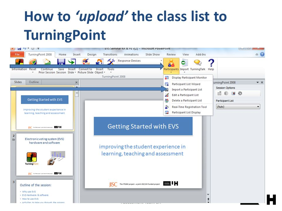 How to 'upload' the class list to TurningPoint