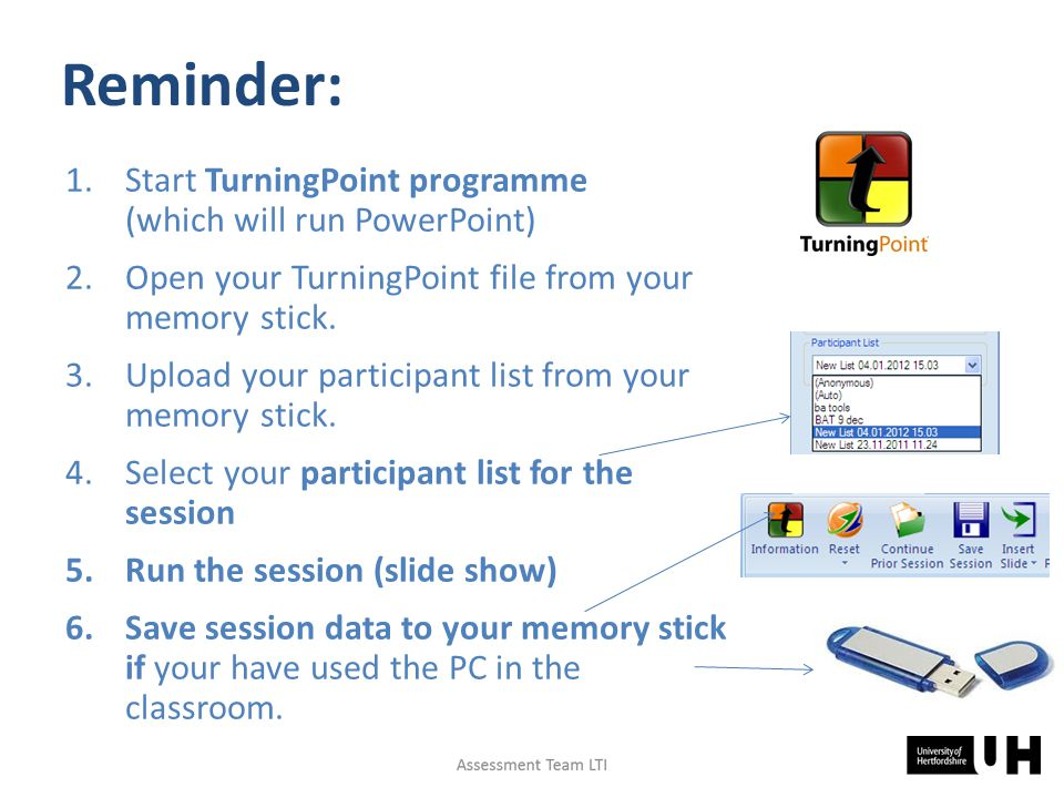 Reminder: 1.Start TurningPoint programme (which will run PowerPoint) 2.Open your TurningPoint file from your memory stick.