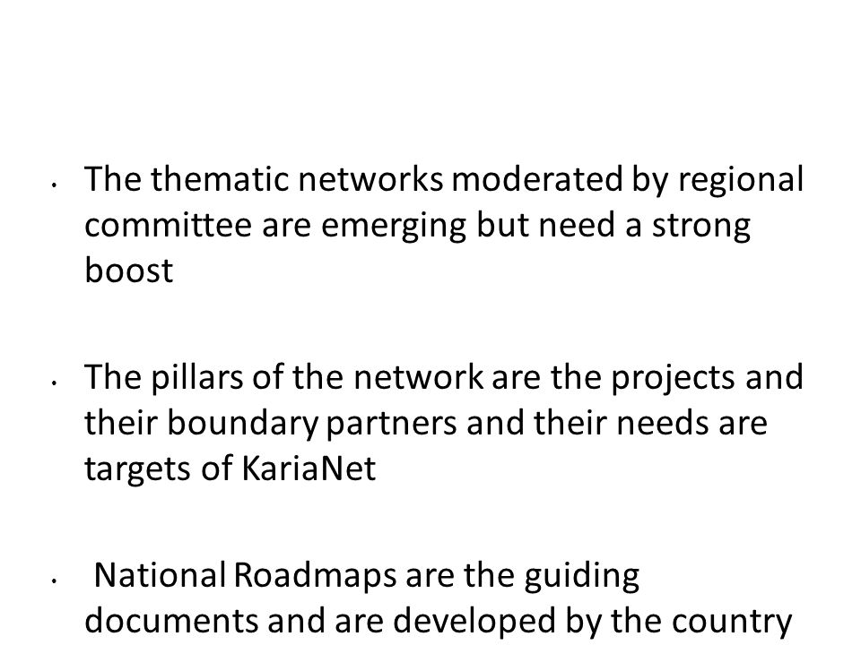 The thematic networks moderated by regional committee are emerging but need a strong boost The pillars of the network are the projects and their bound