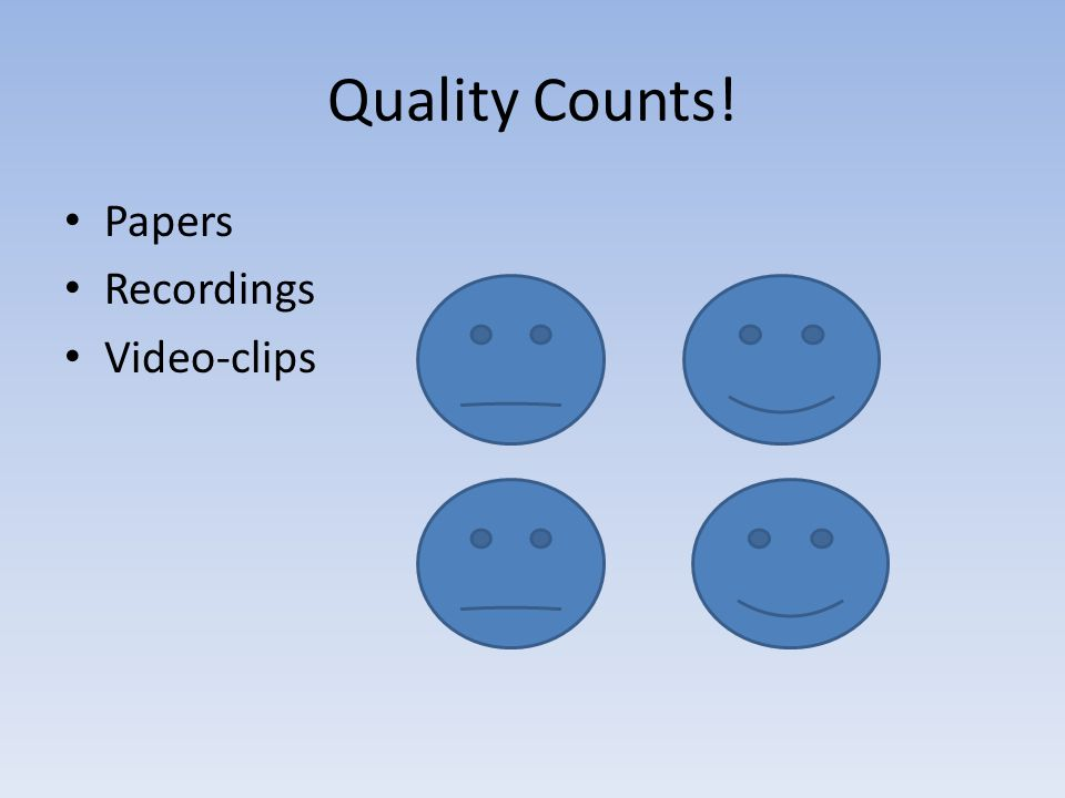 Quality Counts! Papers Recordings Video-clips