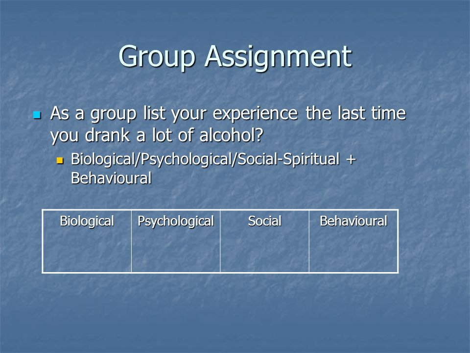 Group Assignment As a group list your experience the last time you drank a lot of alcohol? As a group list your experience the last time you drank a l