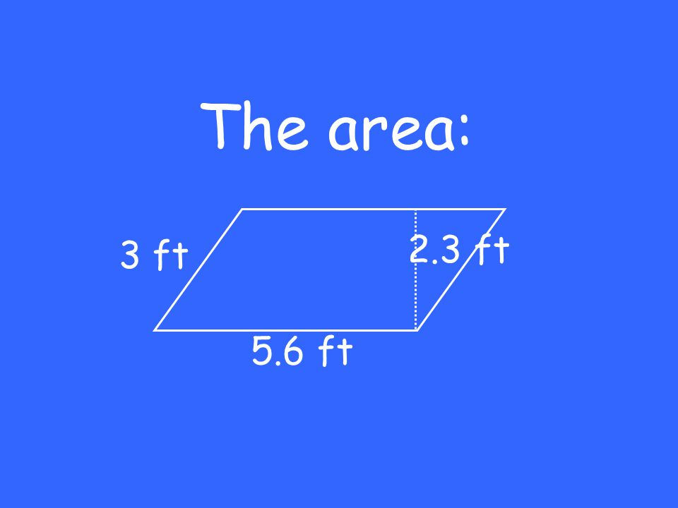 The area: 5.6 ft 3 ft 2.3 ft