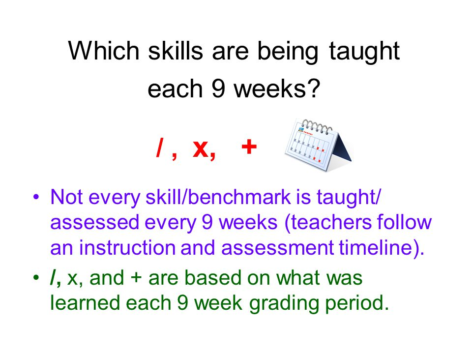Which skills are being taught each 9 weeks.