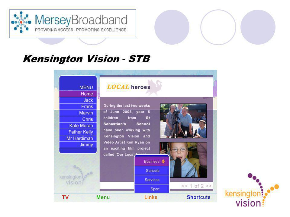 Kensington Vision - STB Engaging with regeneration partnerships Online services Business start up Develop Digital TV channel
