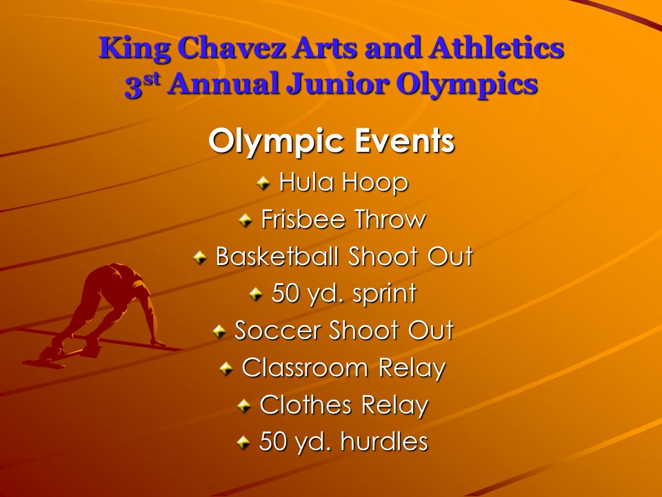King Chavez Arts and Athletics 3 st Annual Junior Olympics Olympic Events Hula Hoop Frisbee Throw Basketball Shoot Out 50 yd.