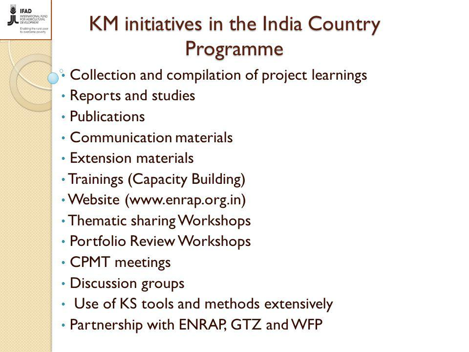 KM initiatives in the India Country Programme Collection and compilation of project learnings Reports and studies Publications Communication materials Extension materials Trainings (Capacity Building) Website (www.enrap.org.in) Thematic sharing Workshops Portfolio Review Workshops CPMT meetings Discussion groups Use of KS tools and methods extensively Partnership with ENRAP, GTZ and WFP
