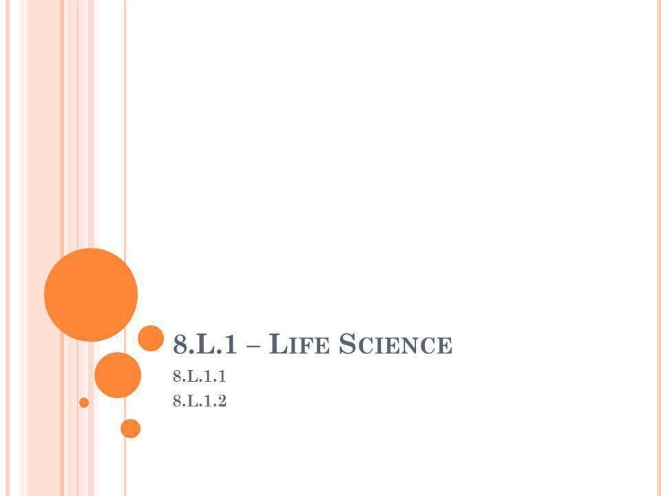 8.L.1 – L IFE S CIENCE 8.L.1.1 8.L.1.2