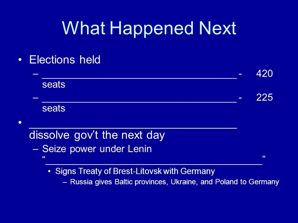 What Happened Next Elections held –___________________________________ - 420 seats –___________________________________ - 225 seats __________________