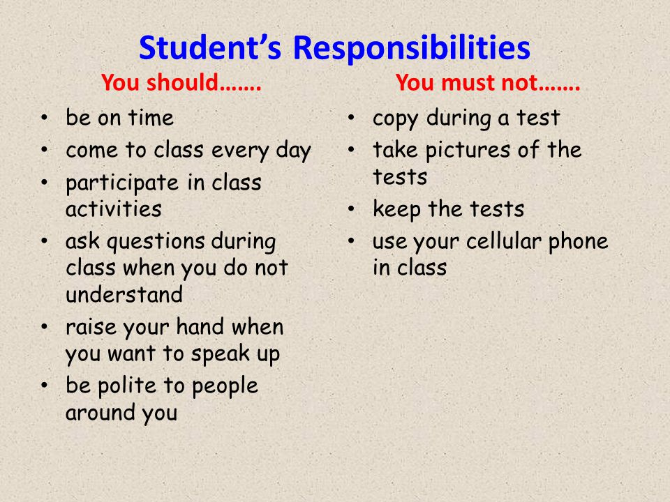 Student's Responsibilities You should…….