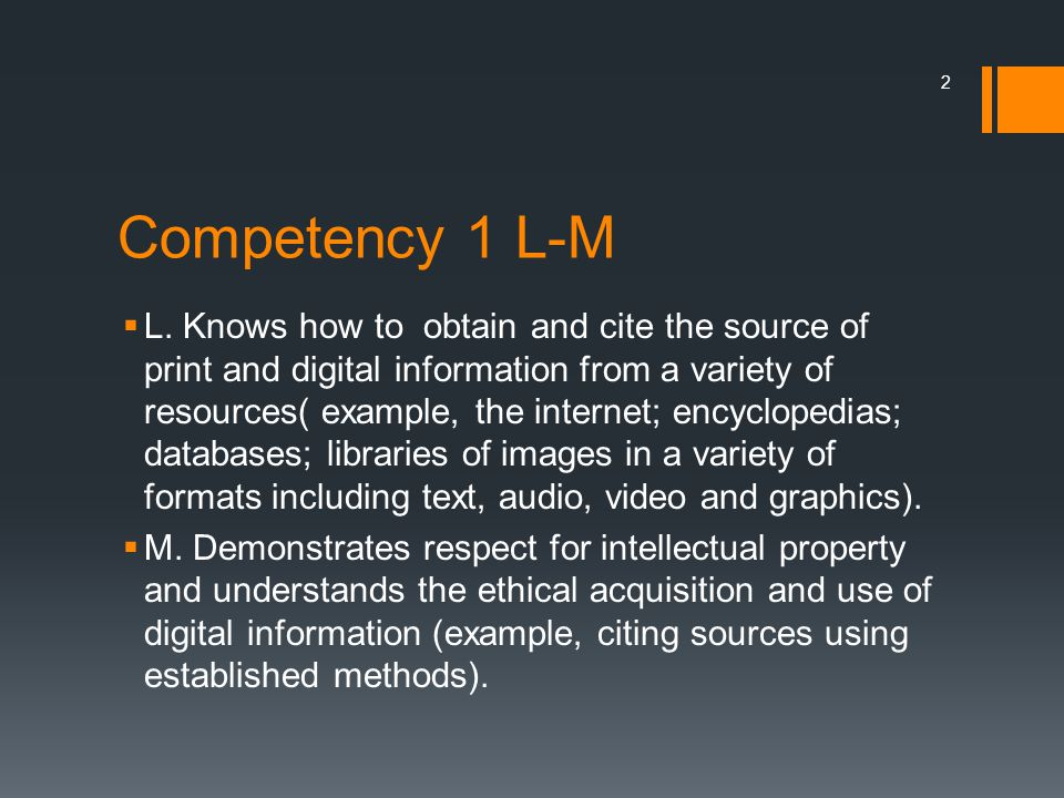 Competency 1 L-M  L.
