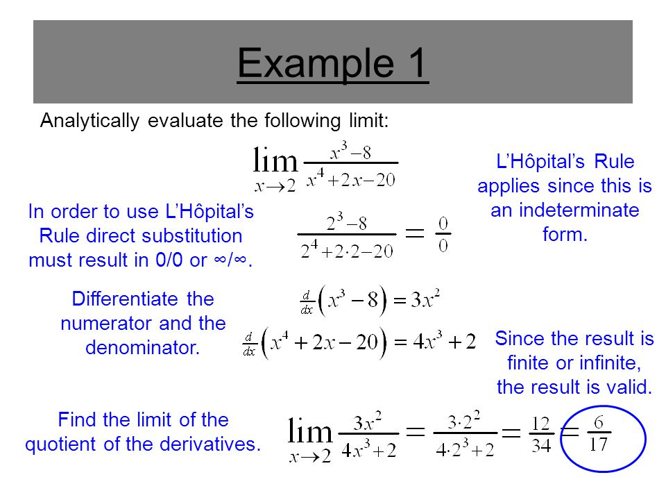 Example 1 Analytically evaluate the following limit: In order to use L'Hôpital's Rule direct substitution must result in 0/0 or ∞/∞. Differentiate the