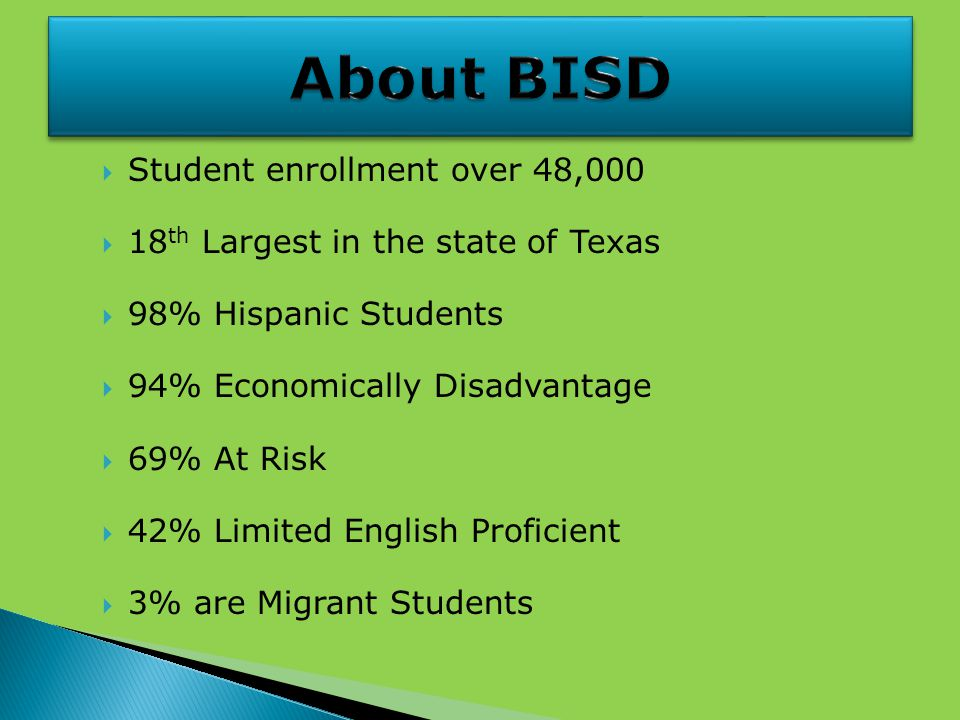  Student enrollment over 48,000  18 th Largest in the state of Texas  98% Hispanic Students  94% Economically Disadvantage  69% At Risk  42% Limited English Proficient  3% are Migrant Students