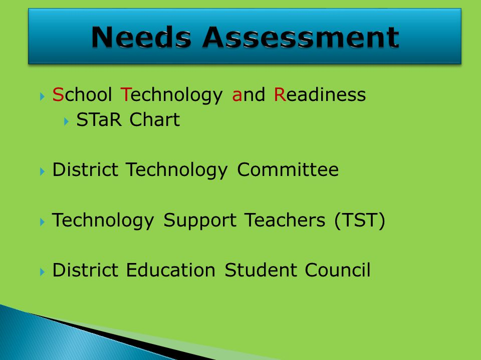  School Technology and Readiness  STaR Chart  District Technology Committee  Technology Support Teachers (TST)  District Education Student Council