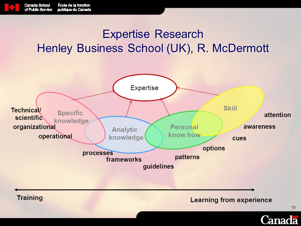 10 Expertise Research Henley Business School (UK), R. McDermott Training Learning from experience Expertise Specific knowledge Analytic knowledge Pers