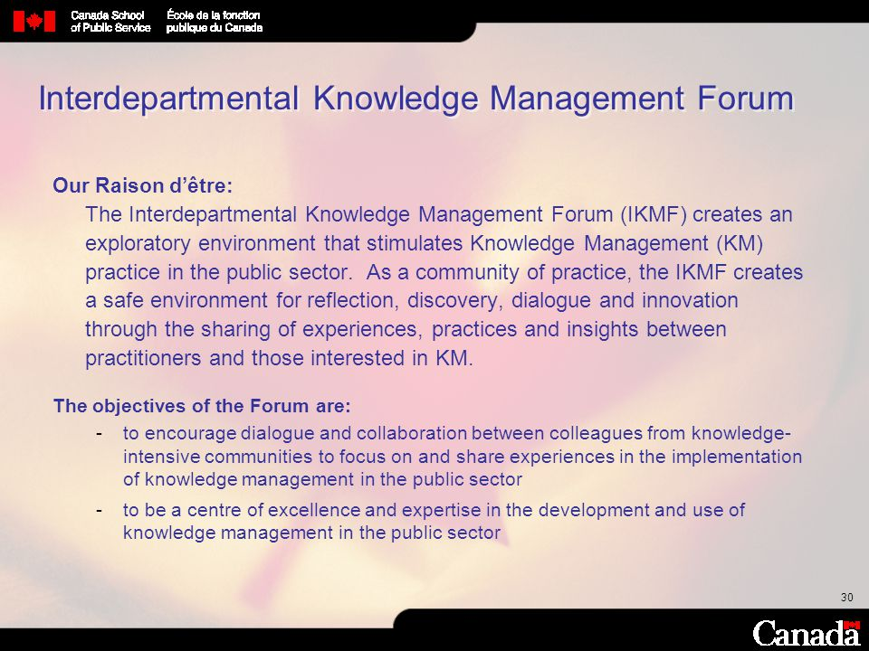 30 Interdepartmental Knowledge Management Forum Our Raison d'être: The Interdepartmental Knowledge Management Forum (IKMF) creates an exploratory envi