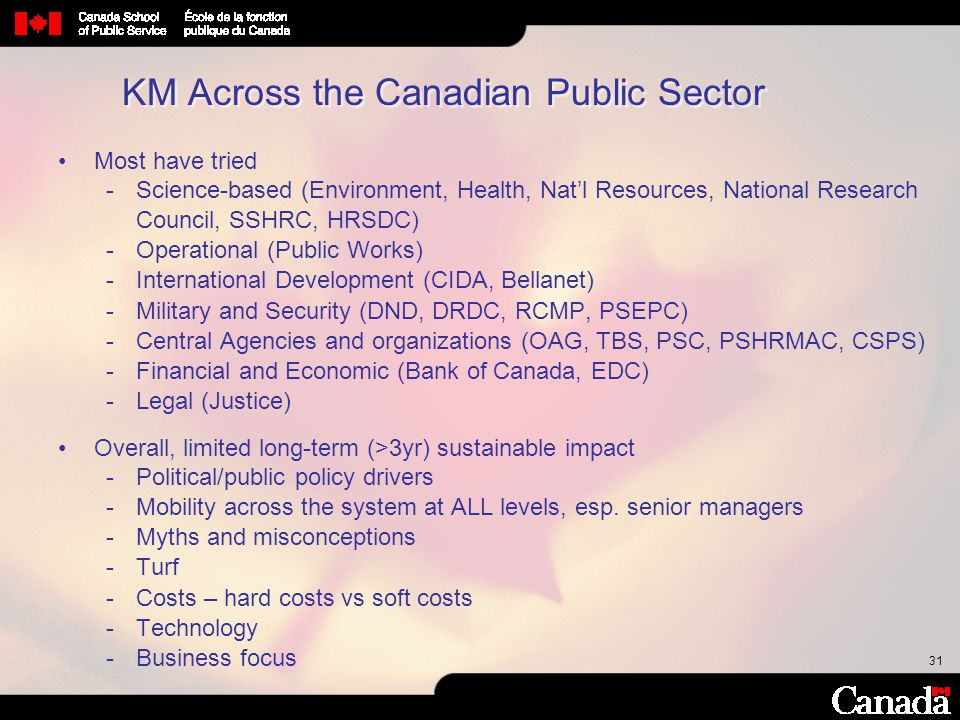 31 KM Across the Canadian Public Sector Most have tried Science-based (Environment, Health, Nat'l Resources, National Research Council, SSHRC, HRSDC)