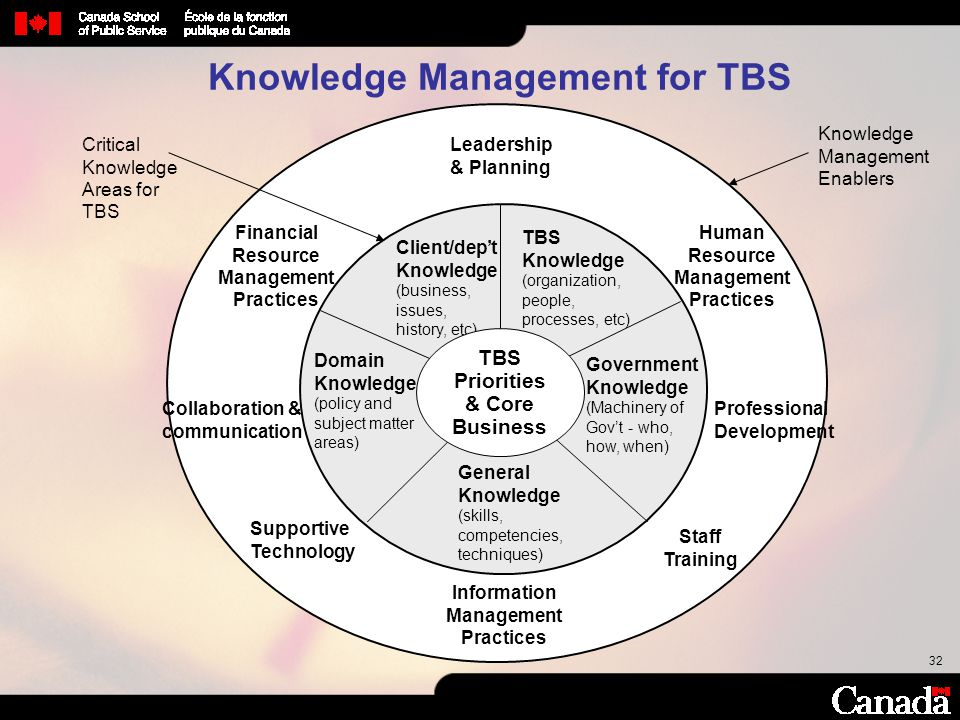 32 Client/dep't Knowledge (business, issues, history, etc) Government Knowledge (Machinery of Gov't - who, how, when) General Knowledge (skills, compe